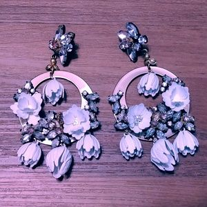 J Crew White Floral garden hoop crystal earrings